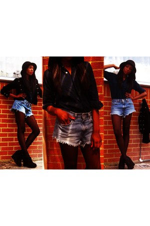 black H&M hat - blue Levis shorts - black heels