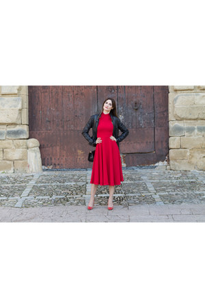 ruby red turtleneck midi shein dress