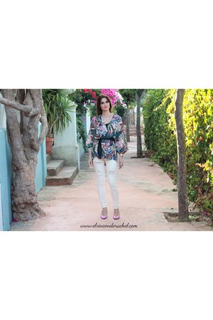 cream tropical print shein blazer