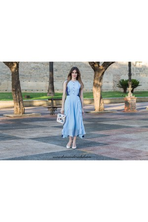 sky blue lightinthebox dress - off white lightinthebox bag