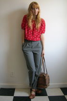red vintage blouse - gray H&M via Buffalo Exchange pants - brown Saltwater Sanda