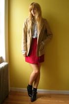 vintage skirt - JCrew shirt - vintage coat - vintage Dingo boots