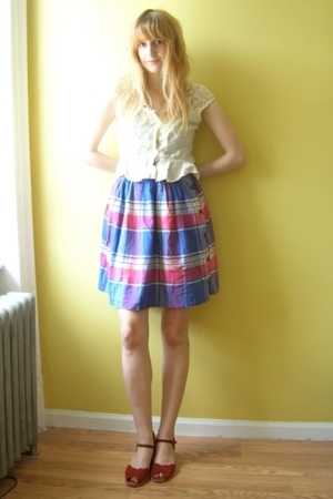 found in a sack of give-away stuff blouse - thrifted skirt - from etsy shoes