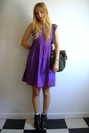 purple second hand dress - brown Dingo boots - green LLBean Signature