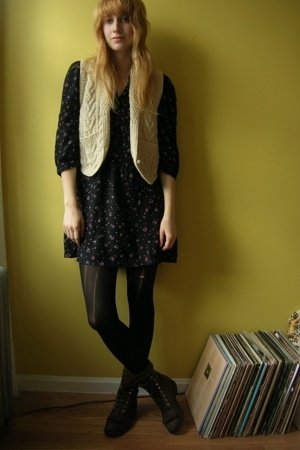thrifted vest - thrifted dress - American Apparel tights - vintage from Ebay boo