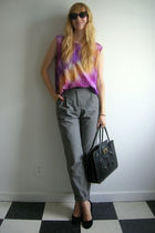 purple second hand top - gray H&M via Buffalo Exchange pants - black Nine West v