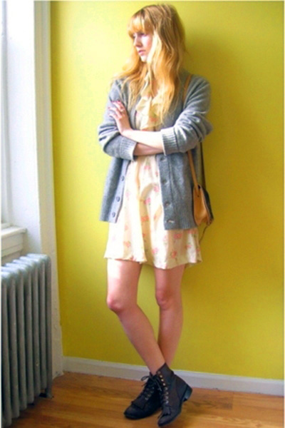 vintage dress - BDG sweater - Justin from eBay boots - vintage from Beacons Clos