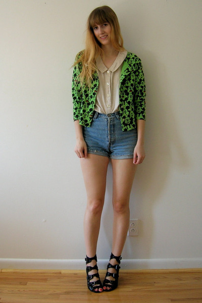 blue jean cutoffs Secondhand shorts - off white sleeveless top vintage blouse -