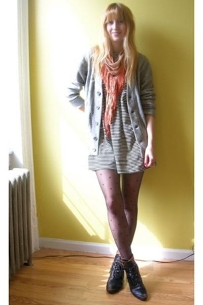 gray cardigan BDG sweater - black vintage from Thrift Town boots