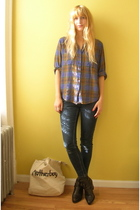 purple plaid vintage shirt - brown Dingo boots - blue jeans