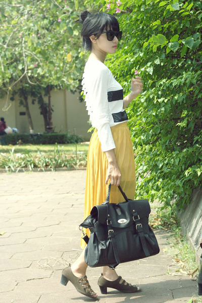 gold chiffon vintage skirt - spandek unbranded top
