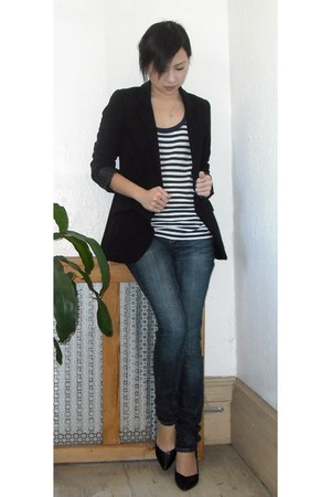 black Express blazer - navy Forever 21 top - blue American Rag jeans - black BCB