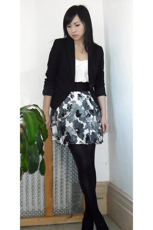 black xerox oxfords Moda Spana boots - black Express blazer - black HUE tights -