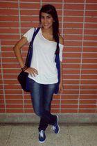 blue Keds shoes - Zara jeans - Bershka vest - Zara shirt - Zara