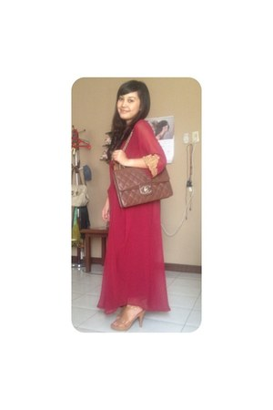 maroon dress - brown Chanel bag - bronze Zara heels