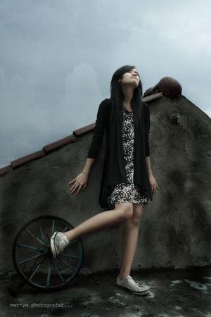 black cardigan - black dress - white shoes