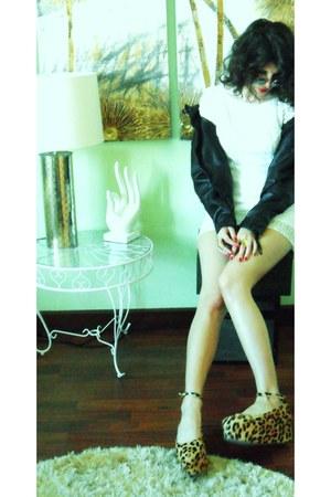 leopard Jeffrey Campbell wedges - Zara dress - leather H&M jacket