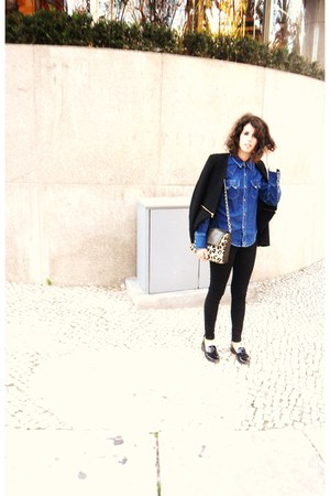 Zara jacket - leather Mango bag - vintage blouse - Zara loafers