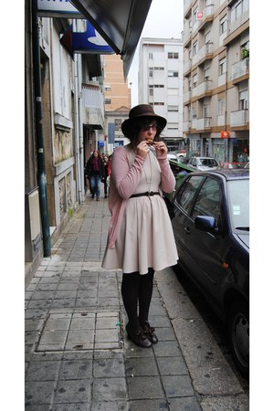 Zara dress - vintage hat - vintage belt - Uterqe cardigan