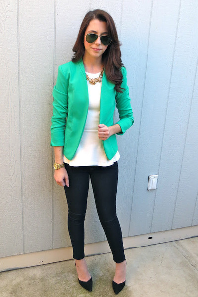 H&M blazer - Gap jeans - Zara blouse - Zara heels - banana republic necklace