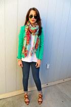 Target scarf - Zara jeans - H&M blazer - Nordstrom t-shirt - Zara heels