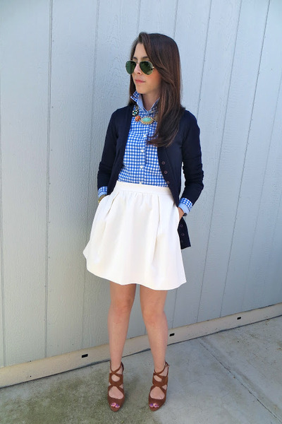 Zara sweater - JCrew shirt - JCrew skirt - Zara heels - banana republic necklace