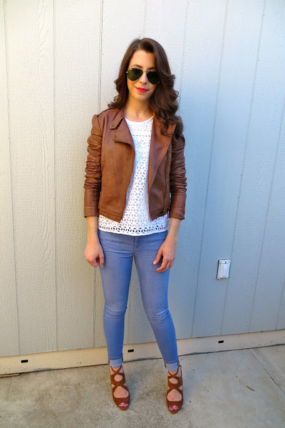 Forever 21 jacket - Gap jeans - JCrew top - Zara heels