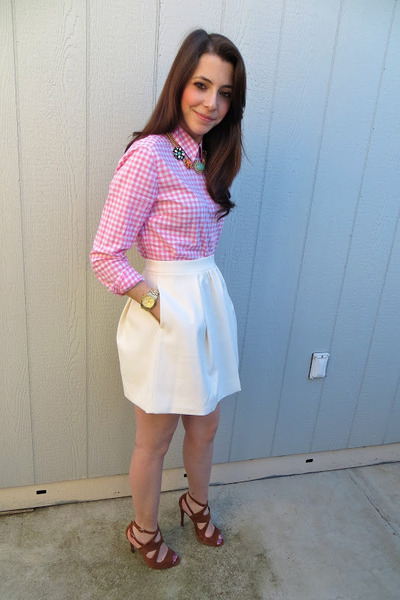 Gap shirt - JCrew skirt - banana republic necklace - Zara heels