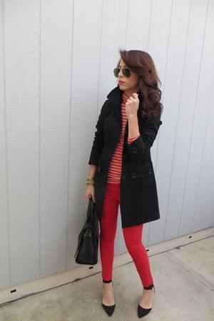 Zara bag - Nordstrom coat - Zara heels - Gap pants - JCrew blouse