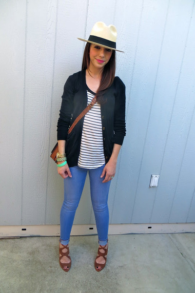 Gap jeans - JCrew hat - Zara bag - Gap t-shirt - Forever 21 cardigan