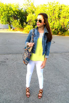 H&M top - Guess jeans - Urban Outfitters jacket - Anthropologie bag - Zara heels