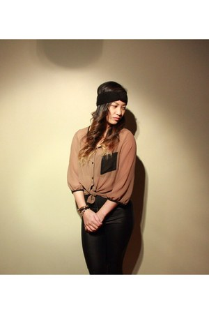 Costa Blanca shirt - Aldo hair accessory - leather Suzy Shier pants