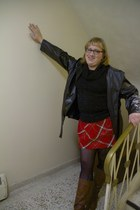 red Old Navy skirt - dark brown Payless boots - black thrifted jacket