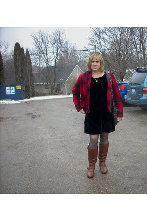 plaid jacket - dark brown boots - black Velvet dress