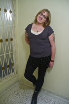black boots - black tights - black skirt - white top - charcoal gray top