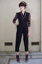 Vtg 80's Gold Piping SHEER slv TUXEDO Jumpsuit XS