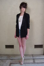 Vtg 80&#x27;s BlaCk Satin TUXEDO Boyfriend Blazer Coat 