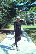 black lace Nasty Gal dress - nude felt Sportsgirl hat