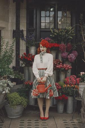 red Joanna Violet hat - red kate spade bag - off white kate spade blouse