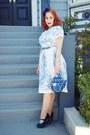 White-toile-1950s-dress-dress-blue-kate-spade-bag-blue-new-look-heels