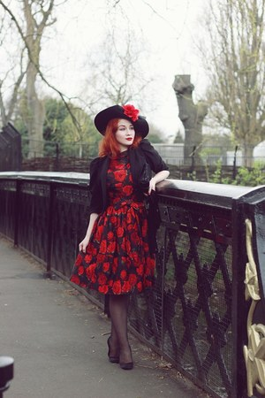 Beyond Retro hat - Beyond Retro dress - black hm jacket - christian dior heels