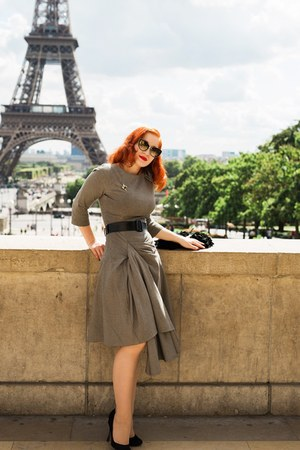 black DVT Sophisticat sunglasses - heather gray Bespoke dress - black dior heels