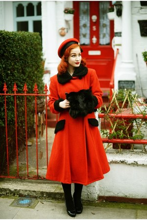 red Moms old coat coat - red Vintage hat from Beyond Retro hat
