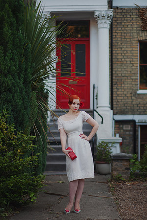 ivory vintage from Beyond Retro dress - red Lulu Guinness bag
