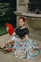 black Bespoke necktie scarf - ruby red 1930s bag - black Charlotte Olympia heels