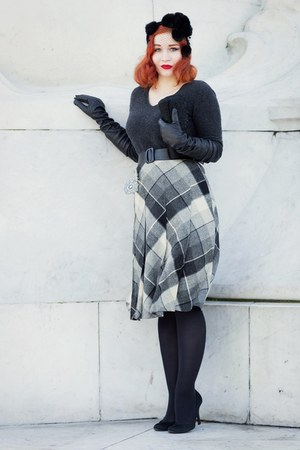 black made by me hat - heather gray Vintage skirt from Beyond Retro skirt