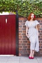 red Charlotte Russe heels - heather gray Darling London dress