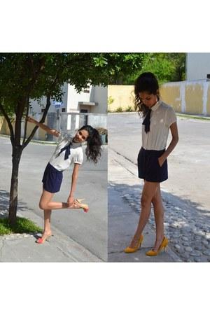navy Forever 21 jumper - gold Zara heels