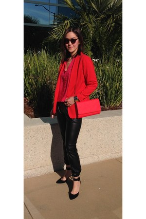 red H&M blazer - red H&M bag - H&M sunglasses - Nordstrom pants