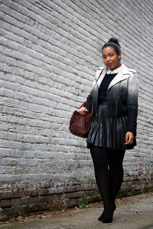 Gap jacket - kenzie girl sweater - camden satchel madewell bag - asos skirt